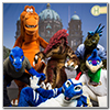 Eurofurence 2014 fursuit photoshoot. Preview picture of RedRaptor, Zed, Blue Raptor, …