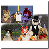 Eurofurence 2014 fursuit photoshoot. Preview picture of Neon, Luca, Scalar, …