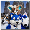 Eurofurence 2014 fursuit photoshoot. Preview picture of Repi, Wiggle, Zero, …