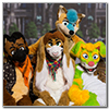 Eurofurence 2014 fursuit photoshoot. Preview picture of Kayfox, FoxB, Eddie, …