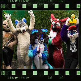 Eurofurence 2015 fursuit photoshoot. Preview picture of Cabs, Dax Black, Shay Comet, …