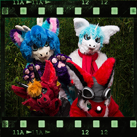Eurofurence 2015 fursuit photoshoot. Preview picture of Kerubia, Rakurim, Murrpy, …