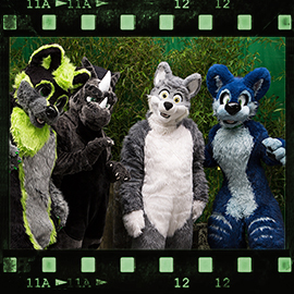 Eurofurence 2015 fursuit photoshoot. Preview picture of Snokami, greeny, Dracus, …