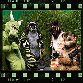 Eurofurence 2015 fursuit photoshoot. Preview picture of Funky Stripes, Eridian, Jason, …