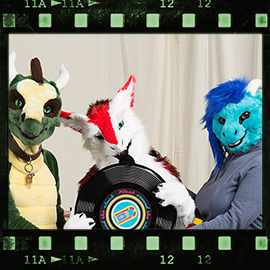 Eurofurence 2016 fursuit photoshoot. Preview picture of Akahito, Kronos, Larissa