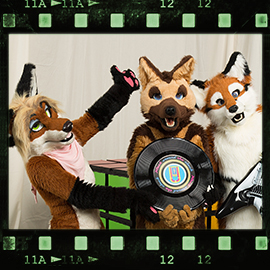 Eurofurence 2016 fursuit photoshoot. Preview picture of Angelynn 'Angie' Shepherd, Barbie'Q'Foxtail, Kit Rävson