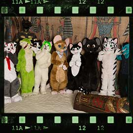 Eurofurence 2017 fursuit photoshoot. Preview picture of Fluffy Draco, Furrylumpy, Iris, …